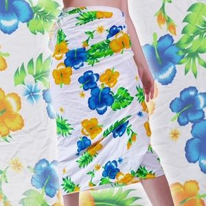GREEN BLUE YELLOW FLORAL WRAP SKIRT - COCONUT GIRL